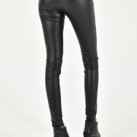 Faux Leather leggings with pockets and zippers A90229