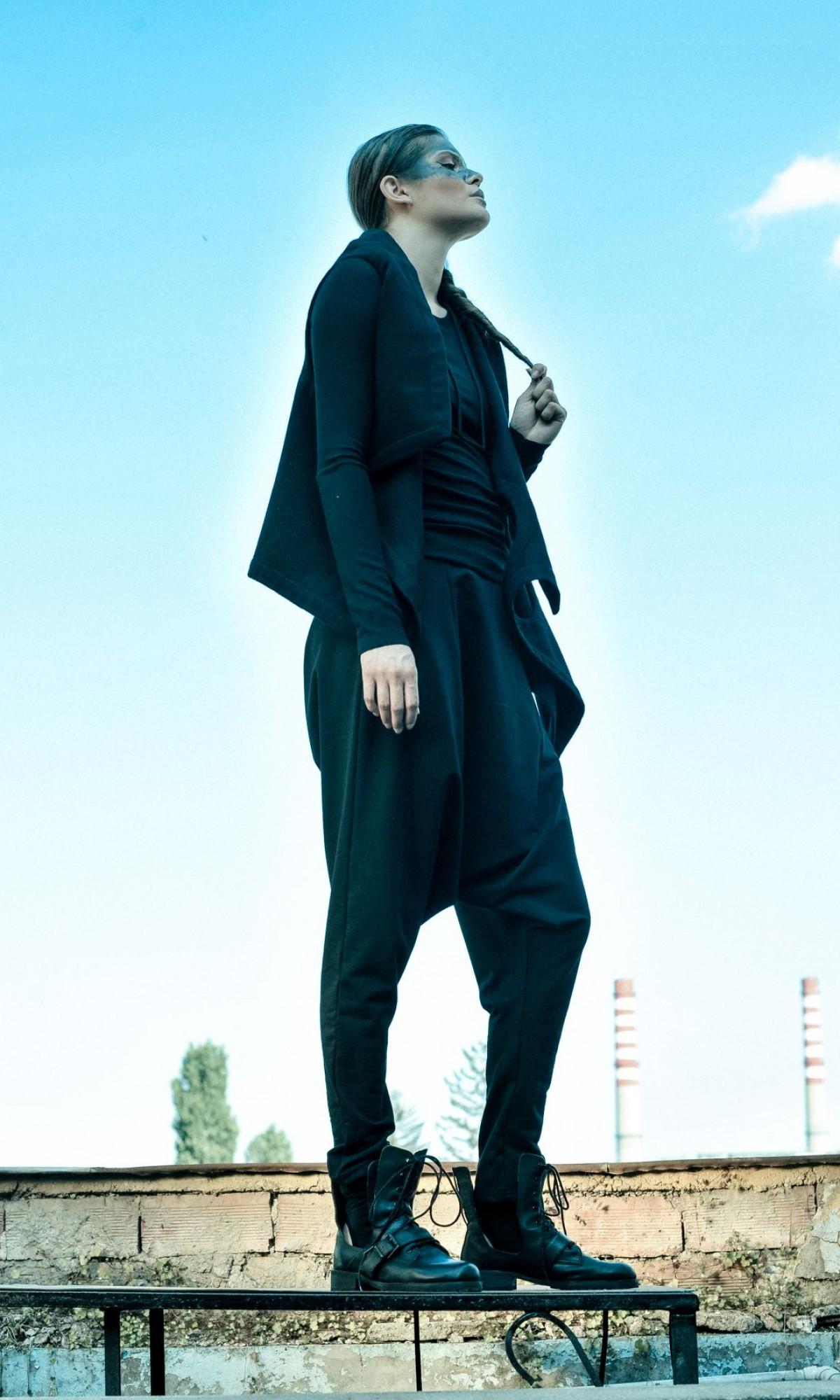 Loose Casual Black Drop Crotch Pants A05062