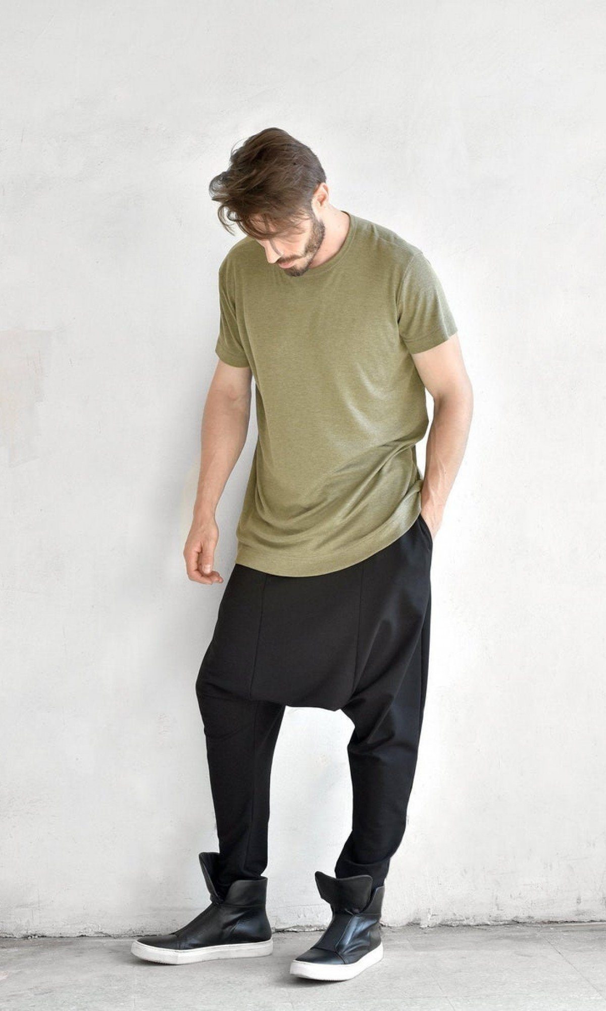 Elegant Drop Crotch Casual Pants A05062M
