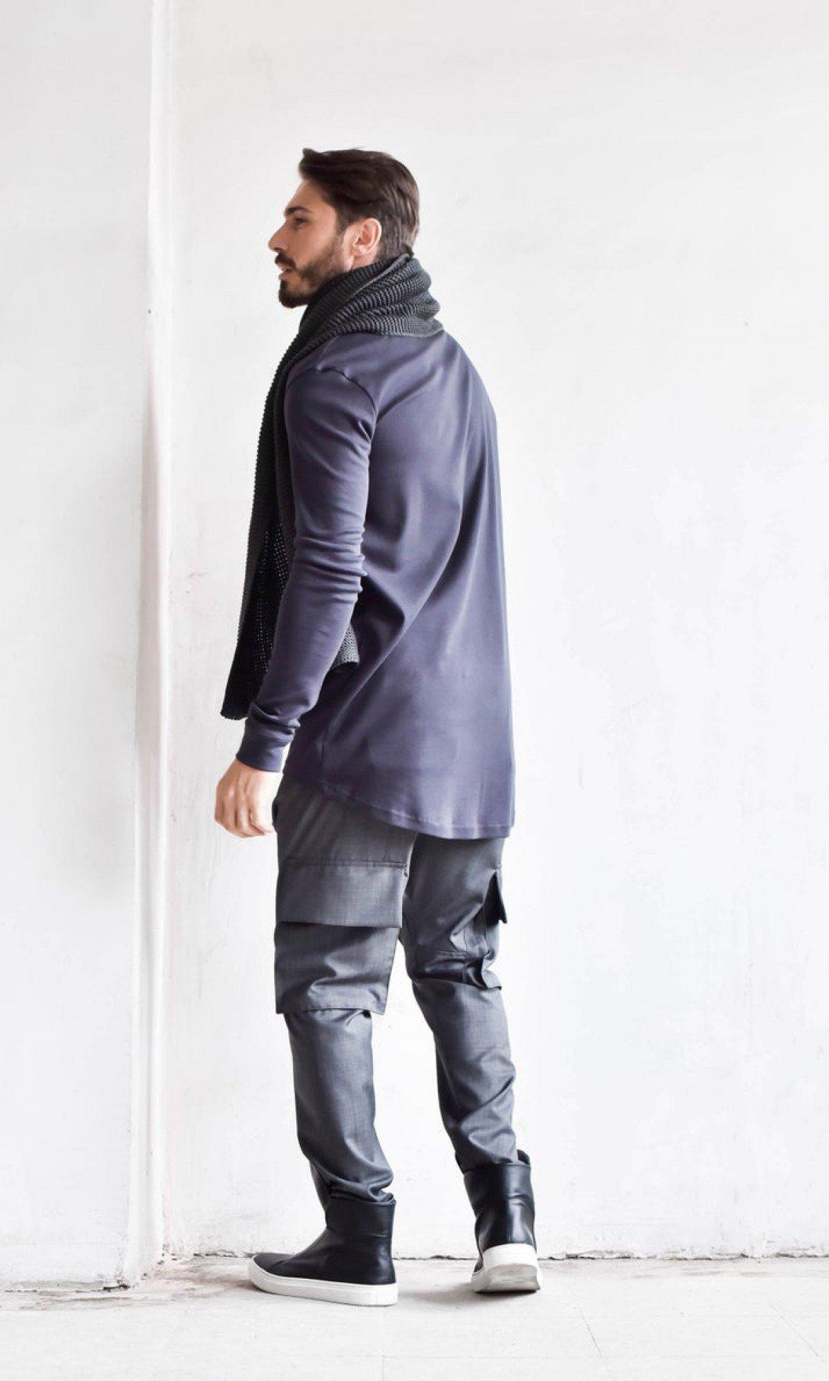 Cold Wool Black Loose Drop Crotch Pants A05262M