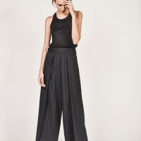 Wide Black Plated Skirt-Pants A05422