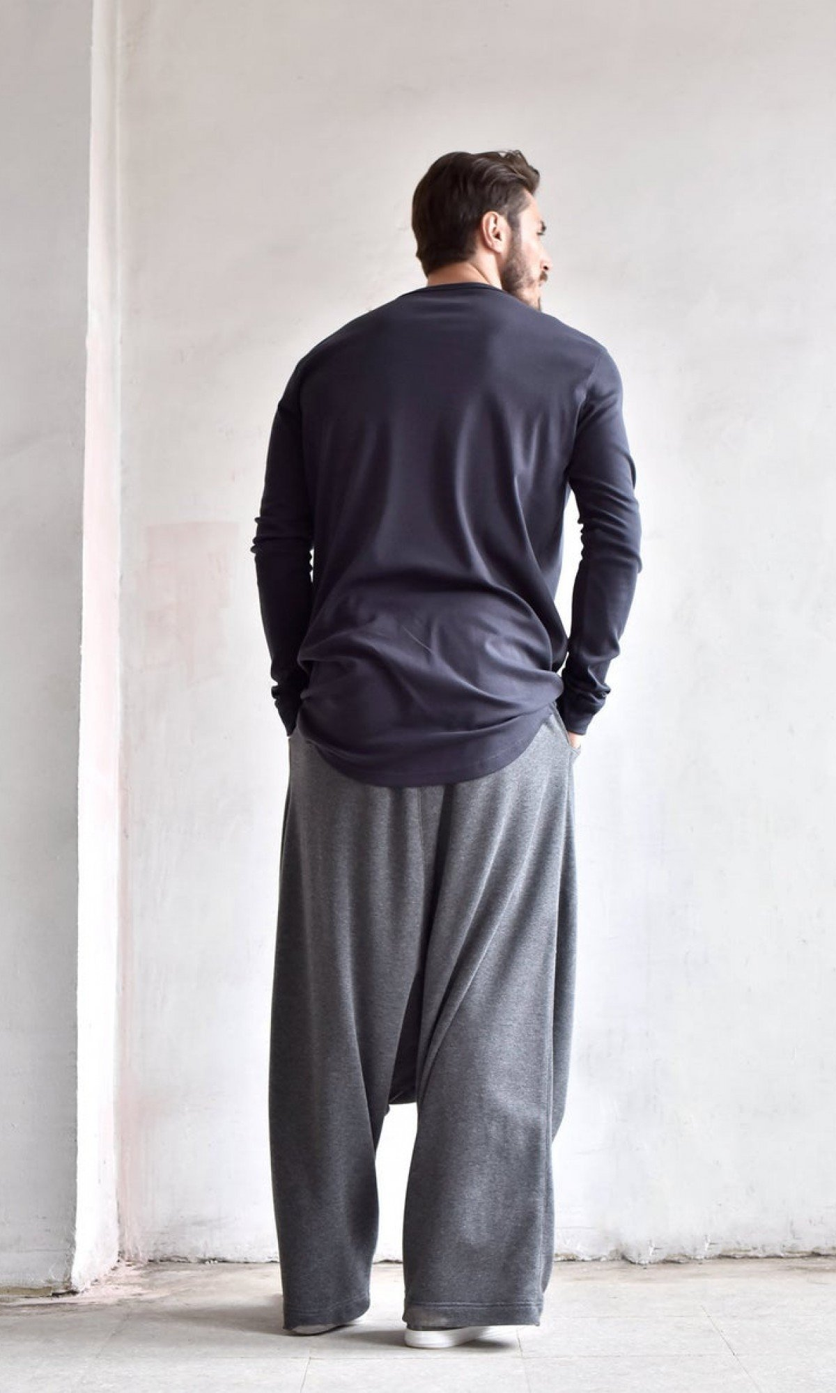 Deep Drop Crotch Cotton Pants A05608M
