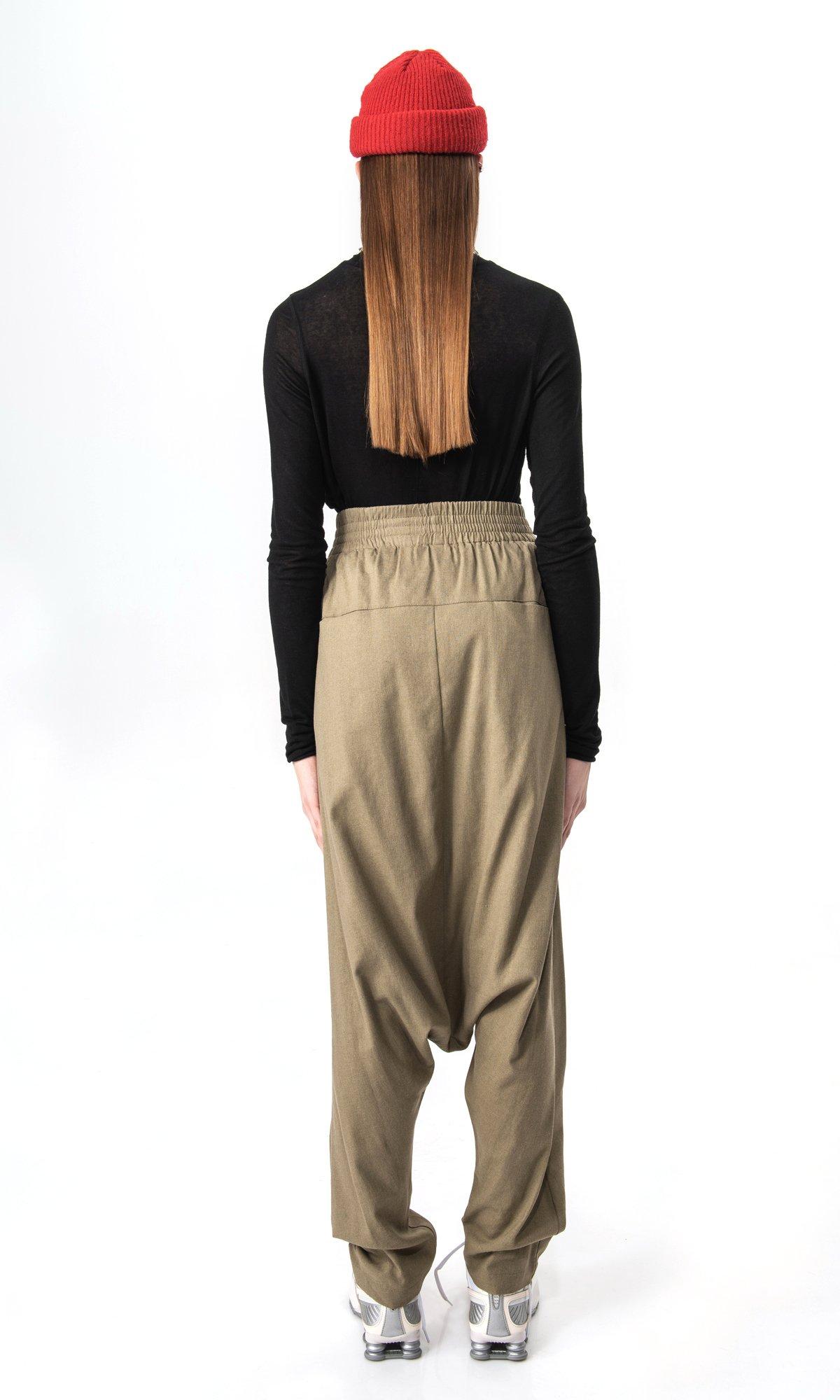Elegant drop crotch linen pants A90512