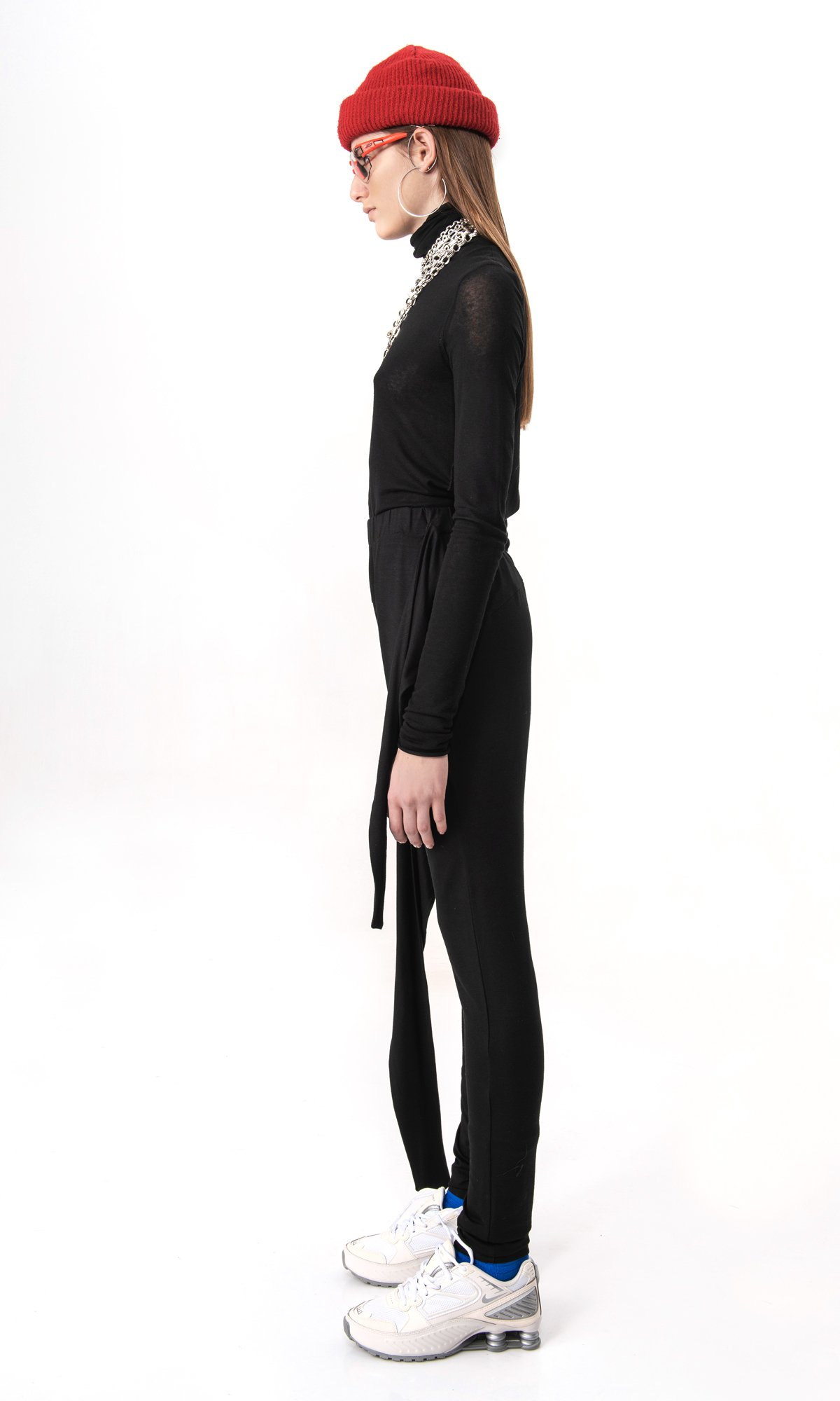 Elegant wrap up skinny pants A90518