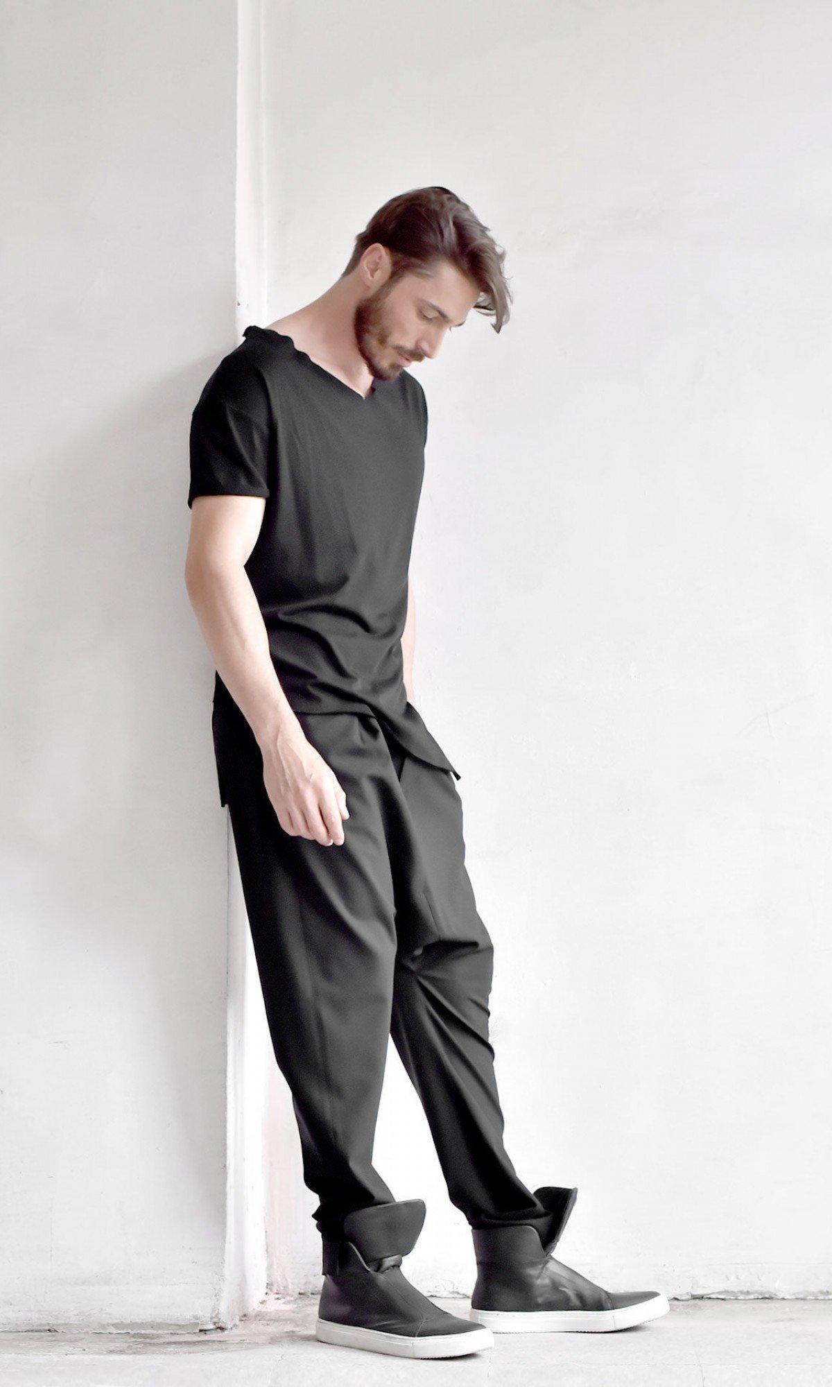 Cold Wool Black Loose Drop Crotch Pants A90549M