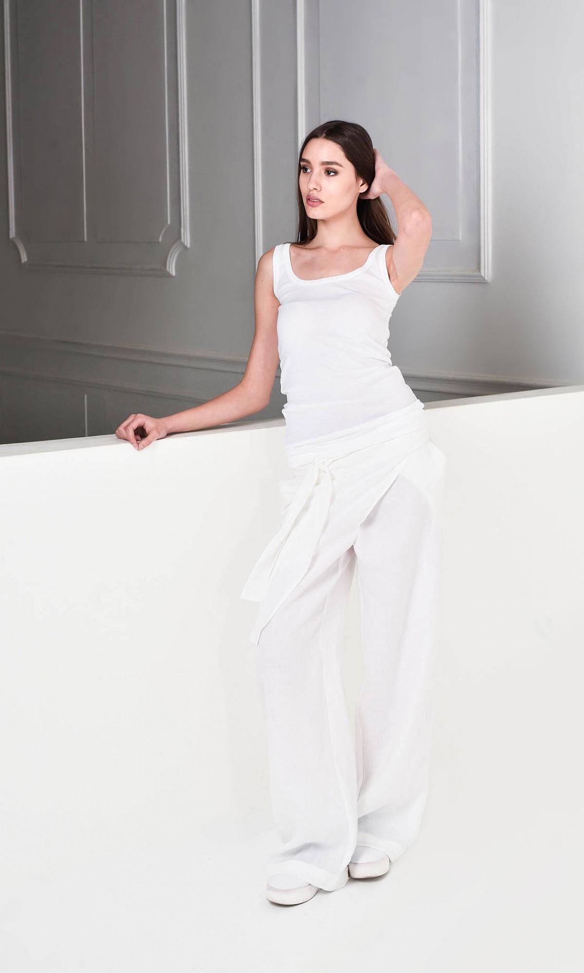 Loose Linen  Wide Leg Pants A05034