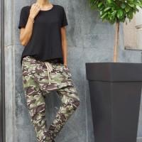 Loose Black Drop Crotch Pants A05069