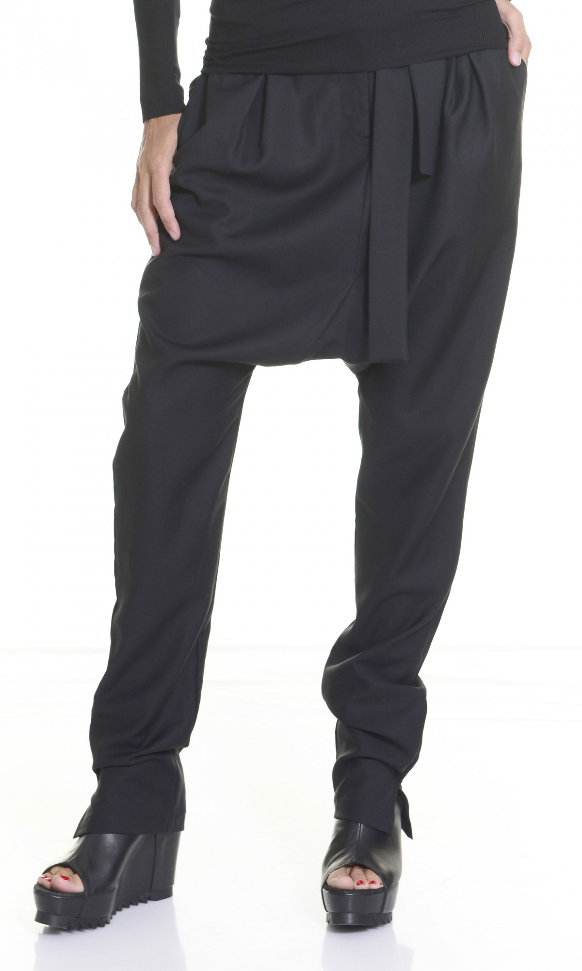 Charcoal Drop Crotch Pants With Ribbon Belt