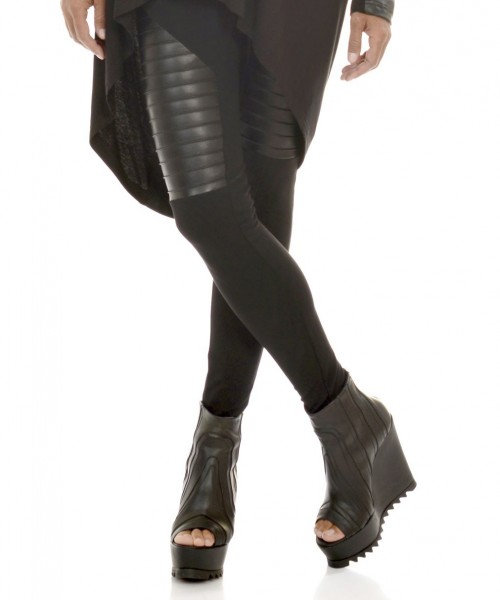 Extra Long Leggings with  Genuine Leather Front  A05125