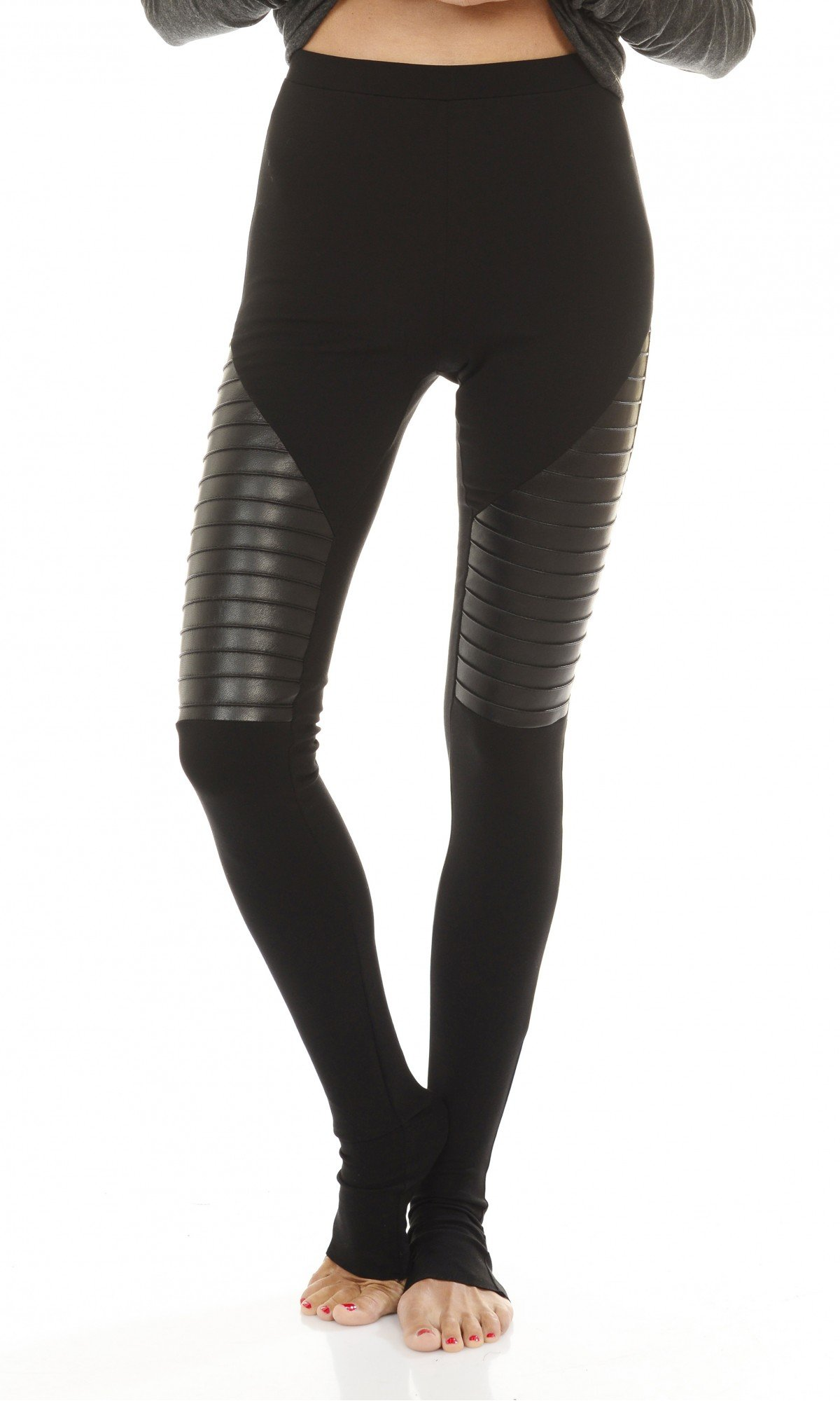 Extra Long Leggings with Genuine Leather