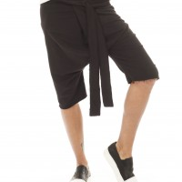 Loose Casual Black Drop Crotch Harem 7/8 Pants A05135