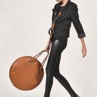 Black Faux Leather Front Leggings A05139