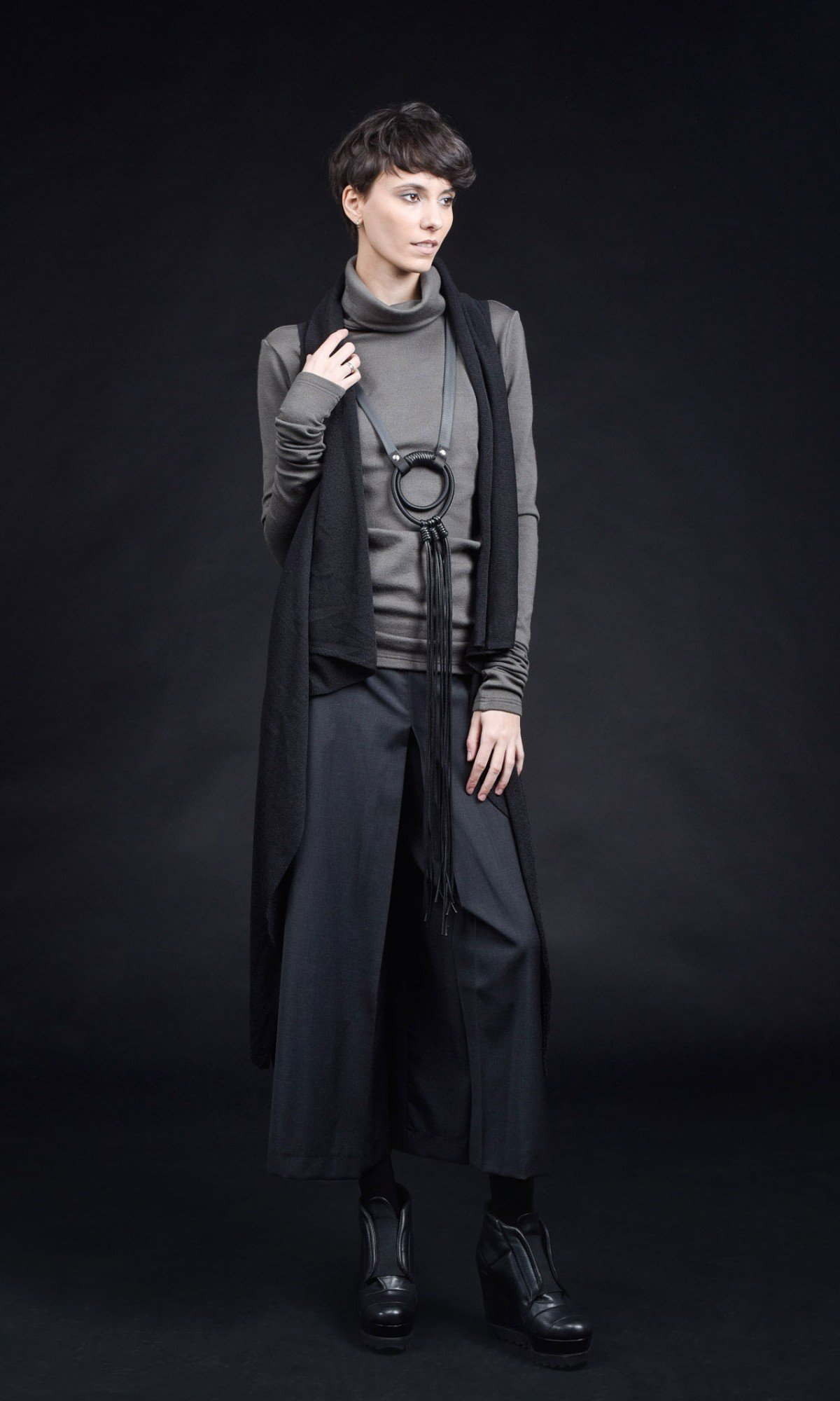 Cold Wool Wide Leg 7/8 Pants A05147