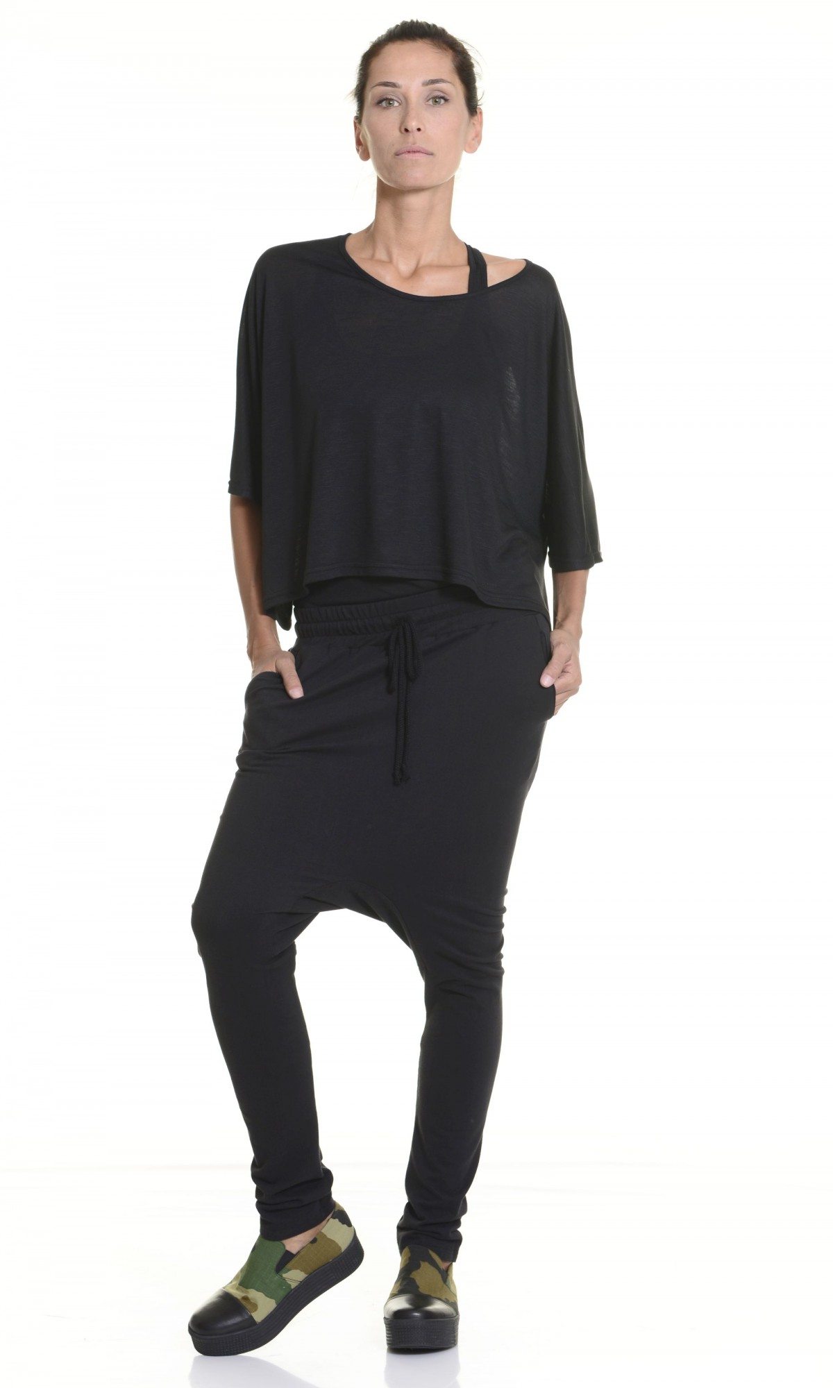 Pants - Loose Casual Black Drop Crotch Pants A05166
