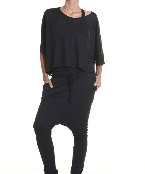 Loose Casual Black Drop Crotch Pants A05166