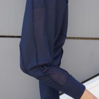 Black Drop Crotch Linen Knit Harem Pants A05167