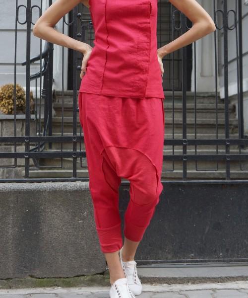 Black Drop Crotch Linen Knit Harem Pants A05167