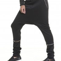 Neoprene Black Drop Crotch Zipper Detachable Pants A05175