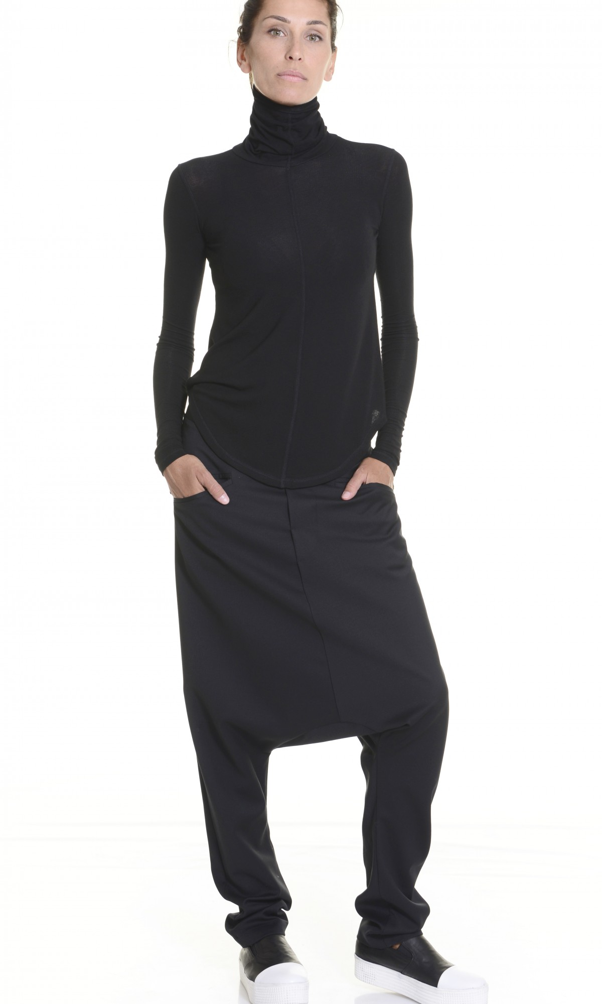 Black Deep Drop Crotch  Pants A05188