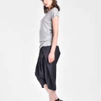 Loose 3/4  Black Drop Crotch Cold Wool Pants A05193