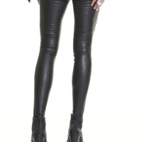 Women - Black Faux Leather Zipper Leggings A05307