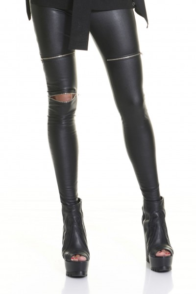 Black Faux Leather Zipper Leggings A05307