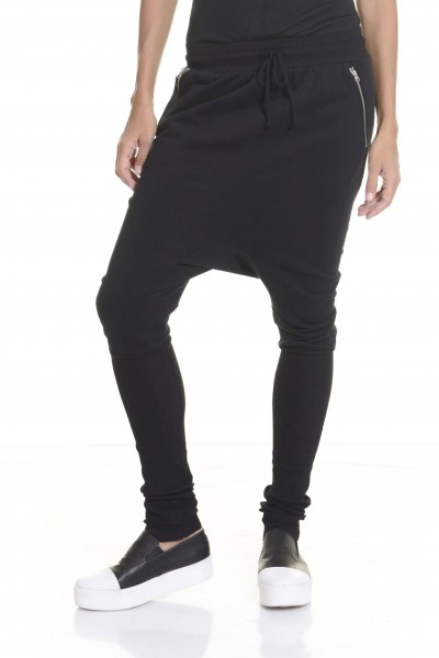 Loose Casual  Black Drop Crotch Harem Pants A05314