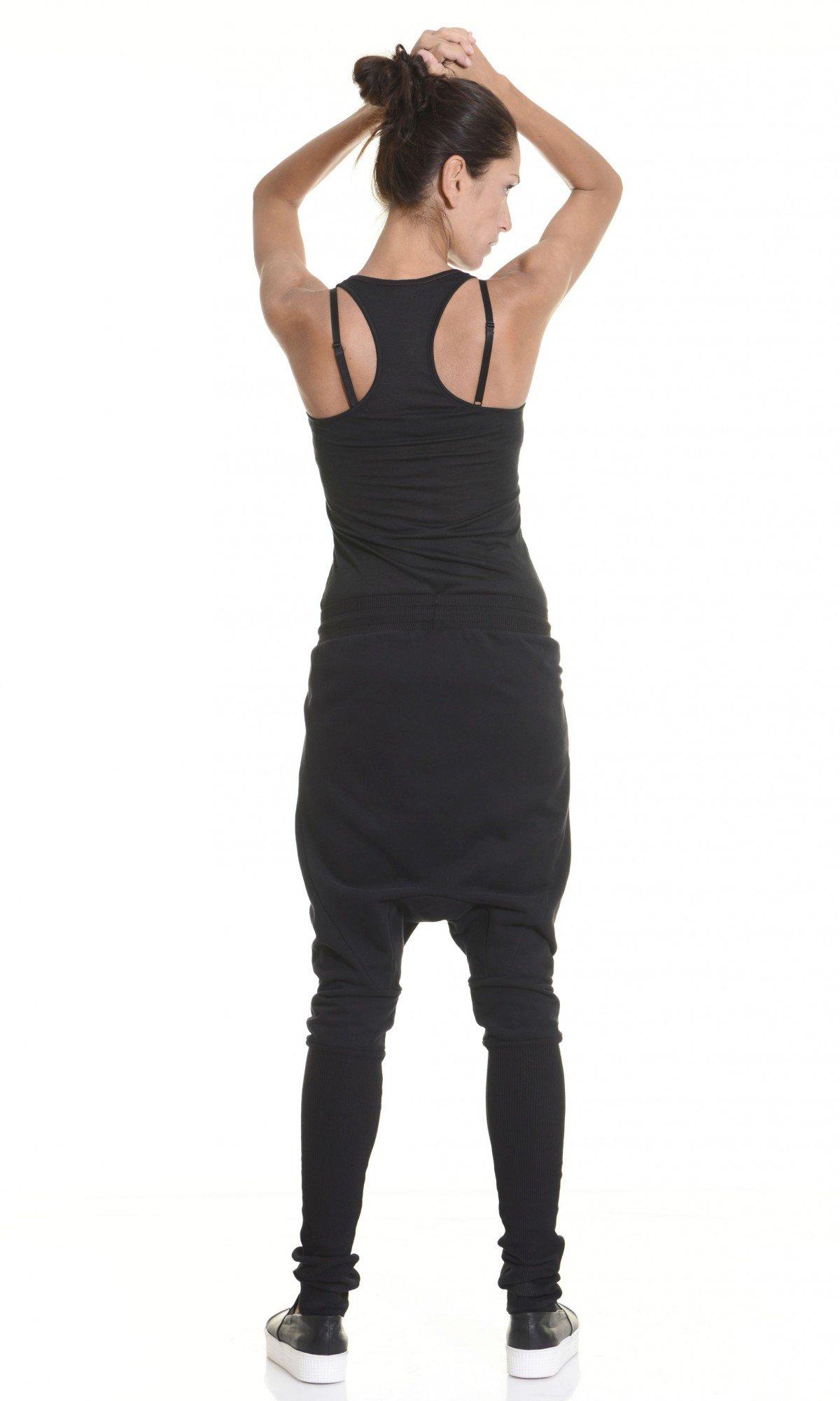 Loose Casual  Black Drop Crotch Harem Pants A05314