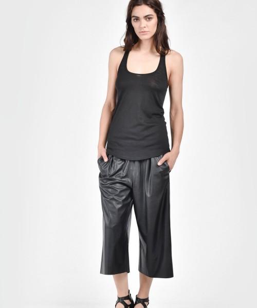 Loose Black Faux Leather Pants A05322