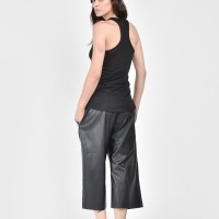 Loose Black Faux Leather Pants A05322