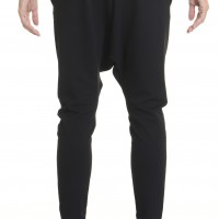 Loose Casual Black Drop Crotch Pants A05339