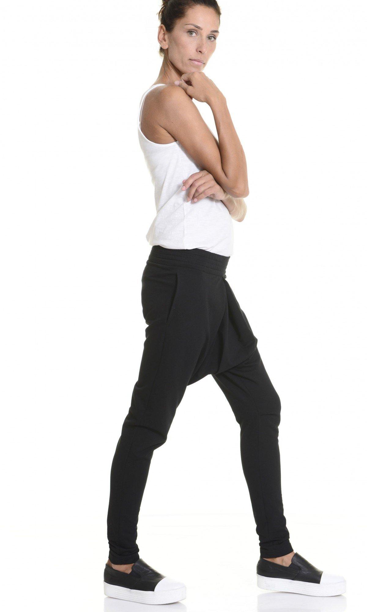 Loose Casual Black Drop Crotch Pants A05339