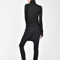 Loose Black Casual Drop Crotch Pants A05392