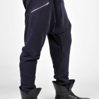 Navy Loose  Drop Crotch Cotton Pants A05240M
