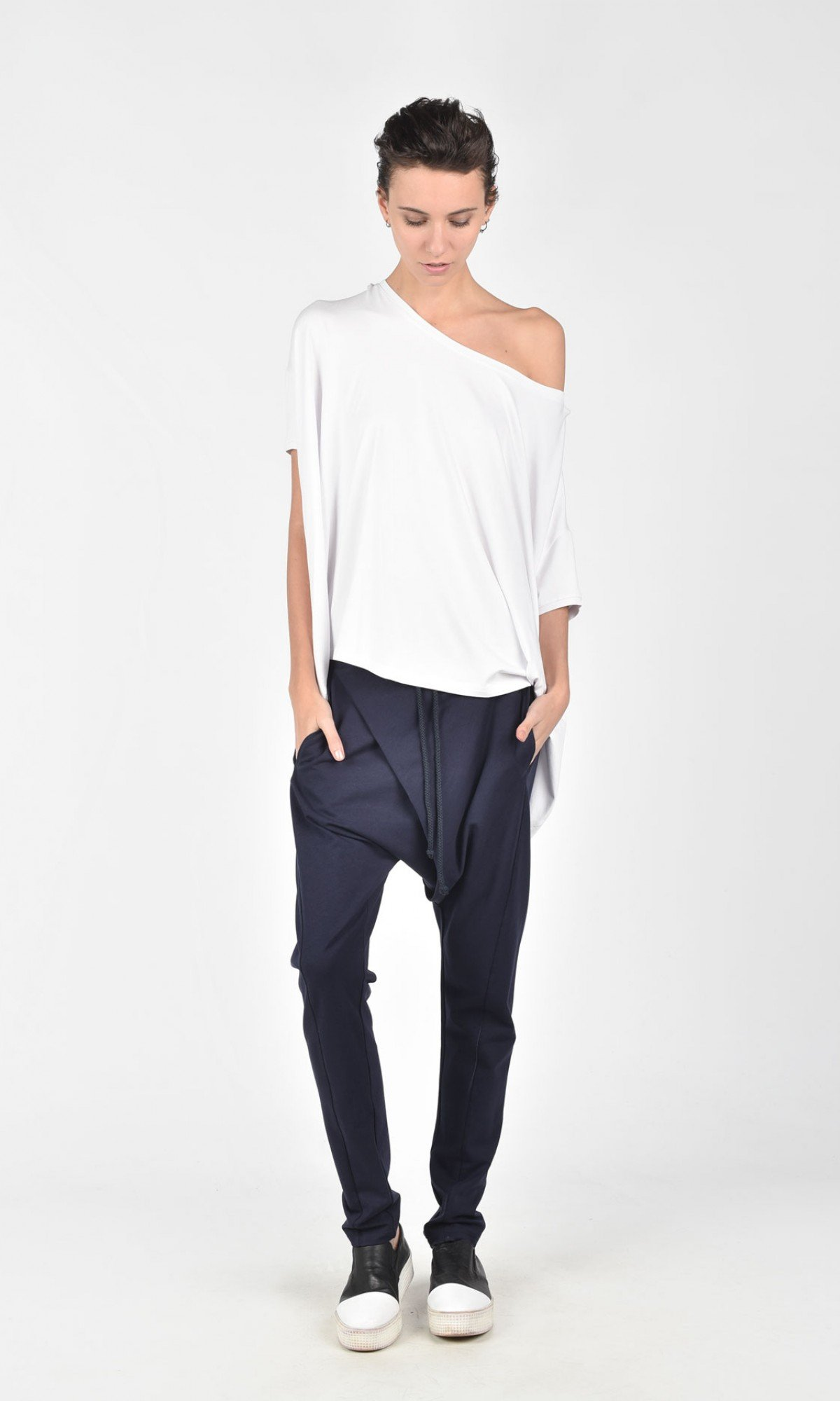 Casual Black Drop Crotch Pants with Overlap A05540