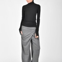 Loose cotton overlapped drop crotch pants A05557