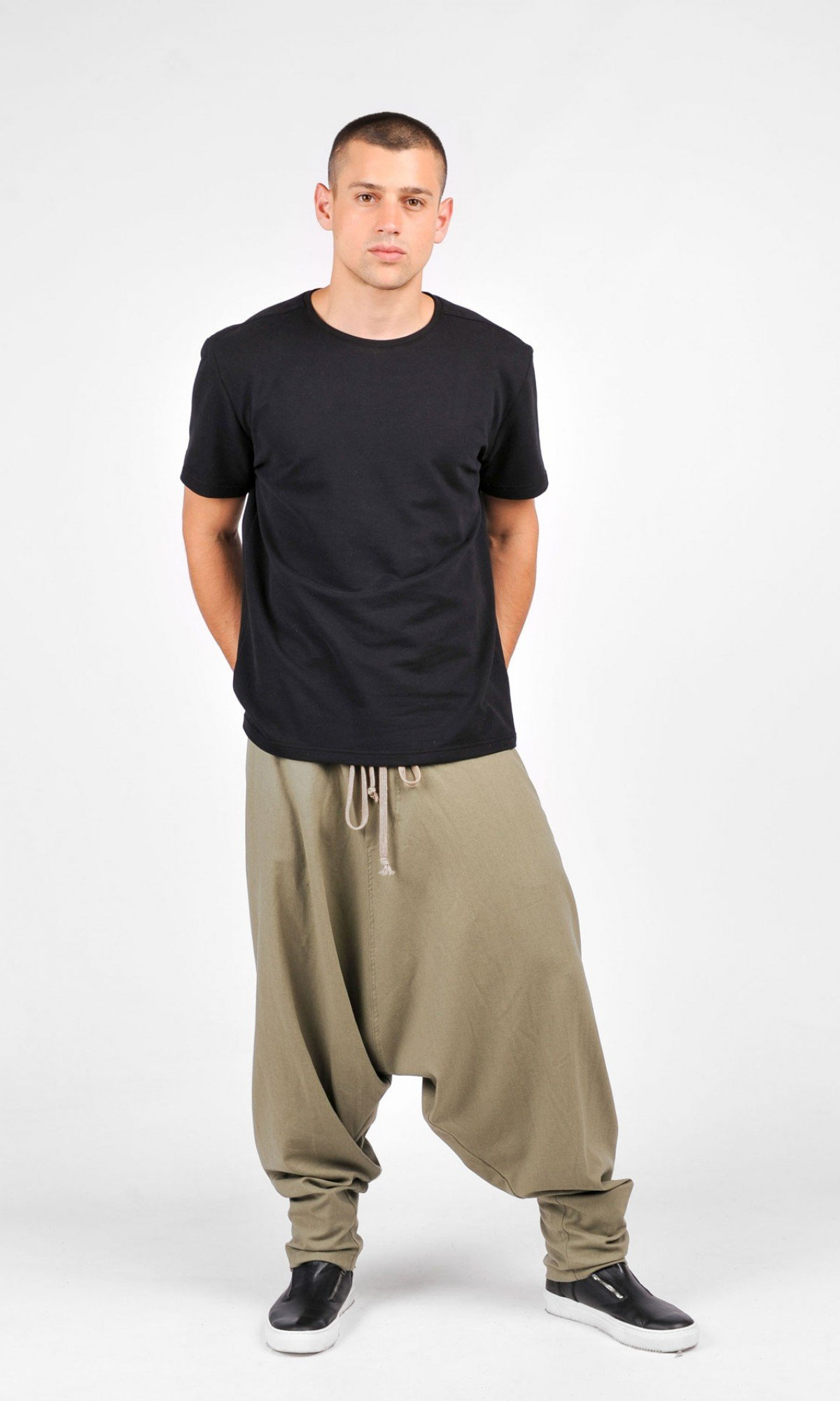 Drop Crotch Linen Harem Pants A05566M