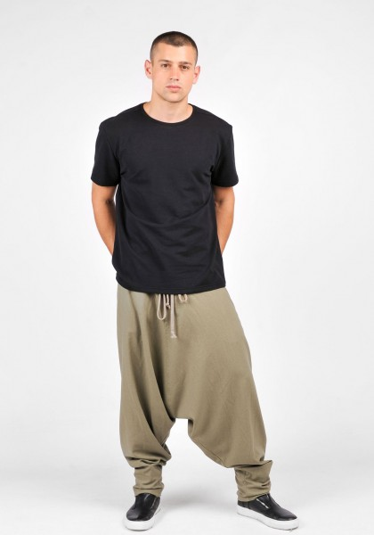 Drop Crotch Linen Harem Pants A05566M