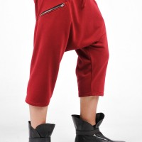 Loose  Drop Crotch Cotton 3/4 Pants A05567M
