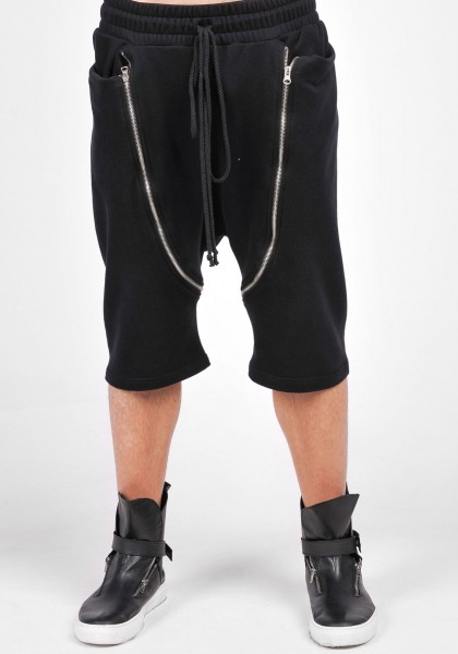 Black Casual Drop Crotch Zipper Pants A05569M