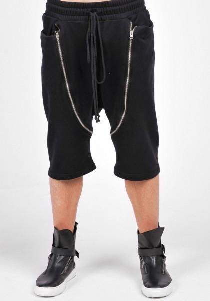 Black Casual Drop Crotch Zipper Pants A05569M