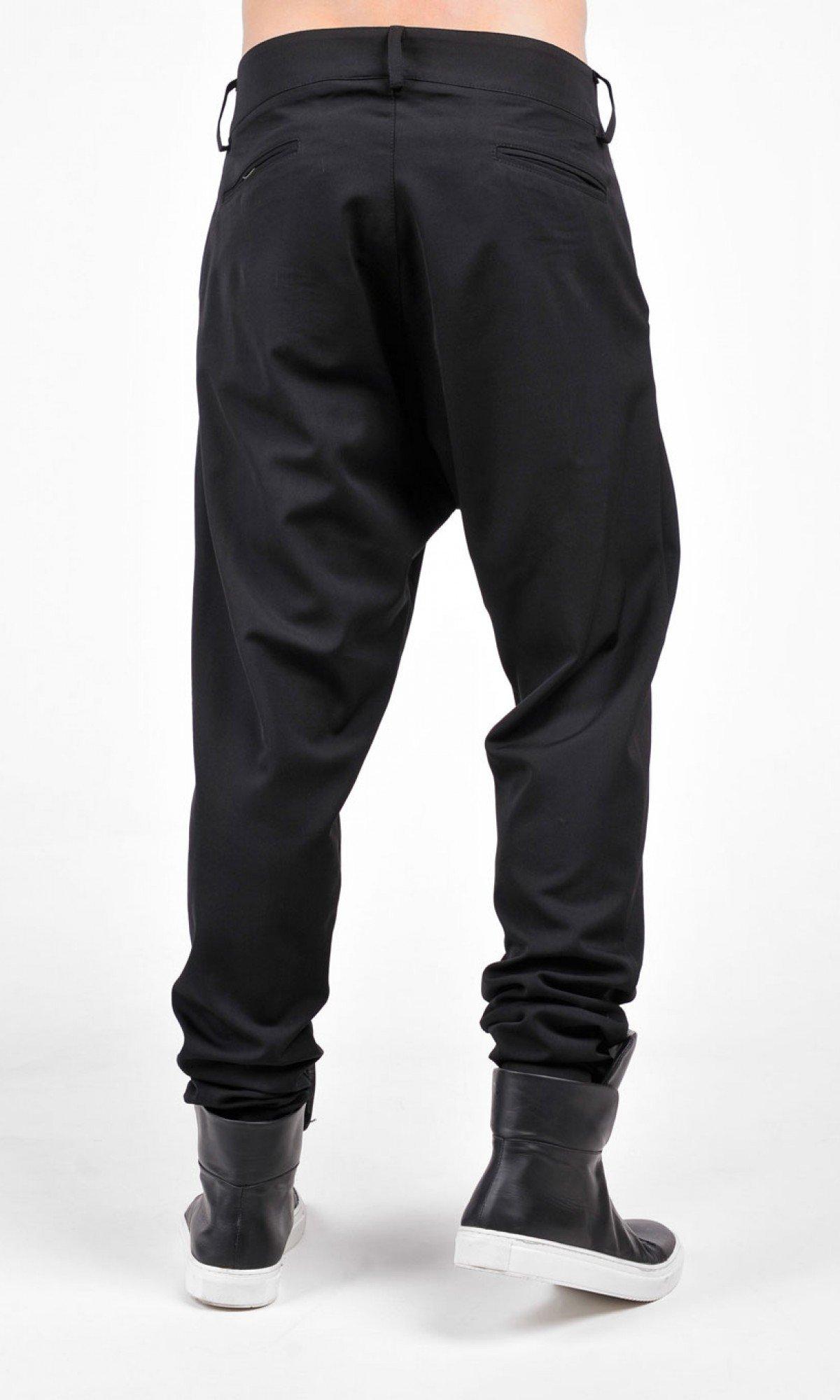Cold Wool Black Loose Drop Crotch Pants A05581M