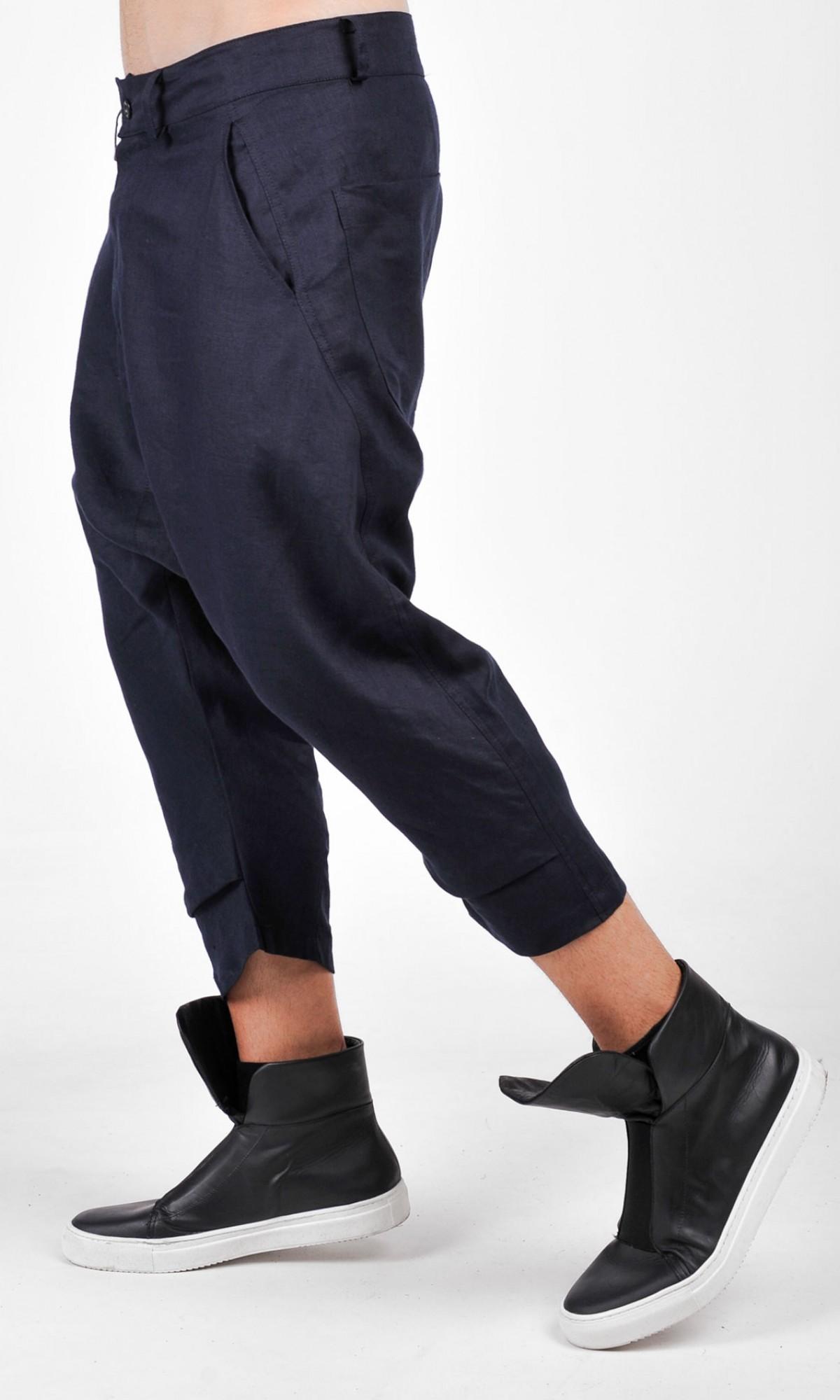 Casual  Drop Crotch Linen Harem Pants A05588M