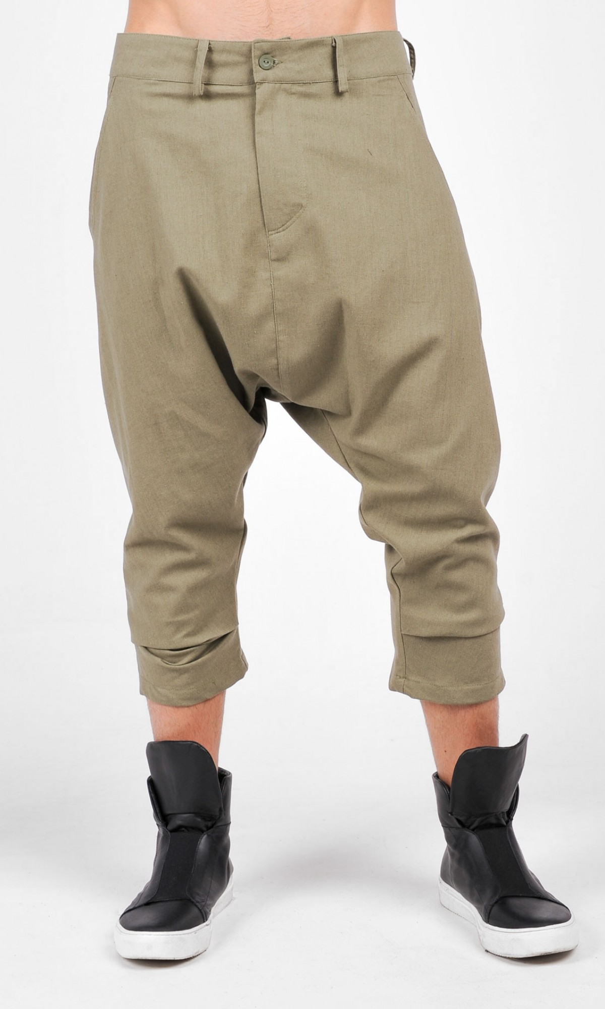 Casual  Drop Crotch Linen Harem Pants A05588M