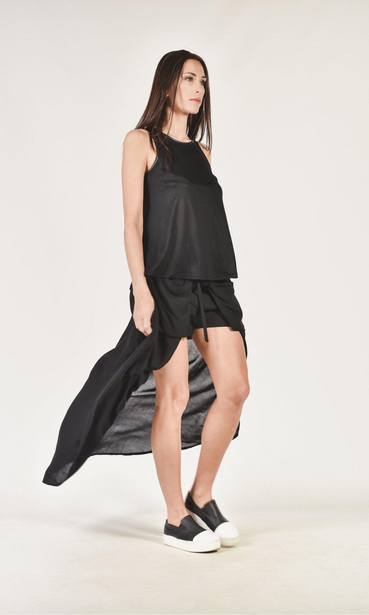 Asymmetric Shorts with А Back Veil A05632