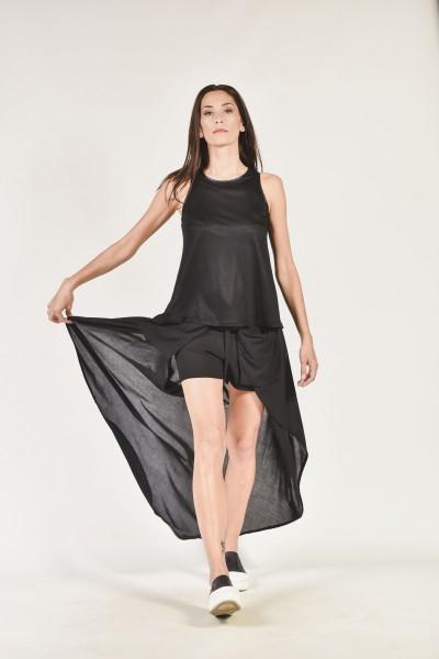 Asymmetric Shorts with А Back Veil A90049