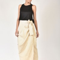 Asymmetric Skirt Pants with an Overlap A90056