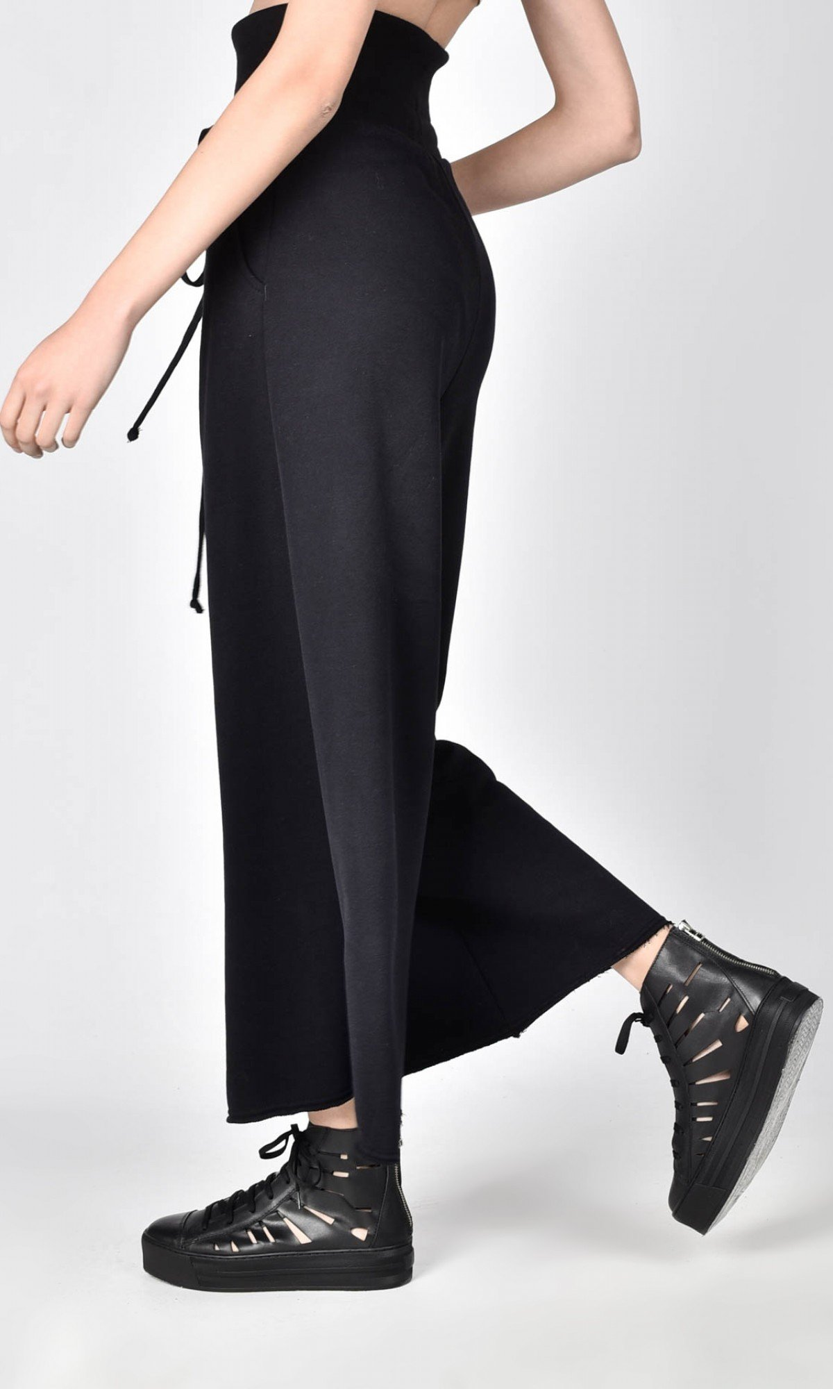 High waist cotton pants A05726