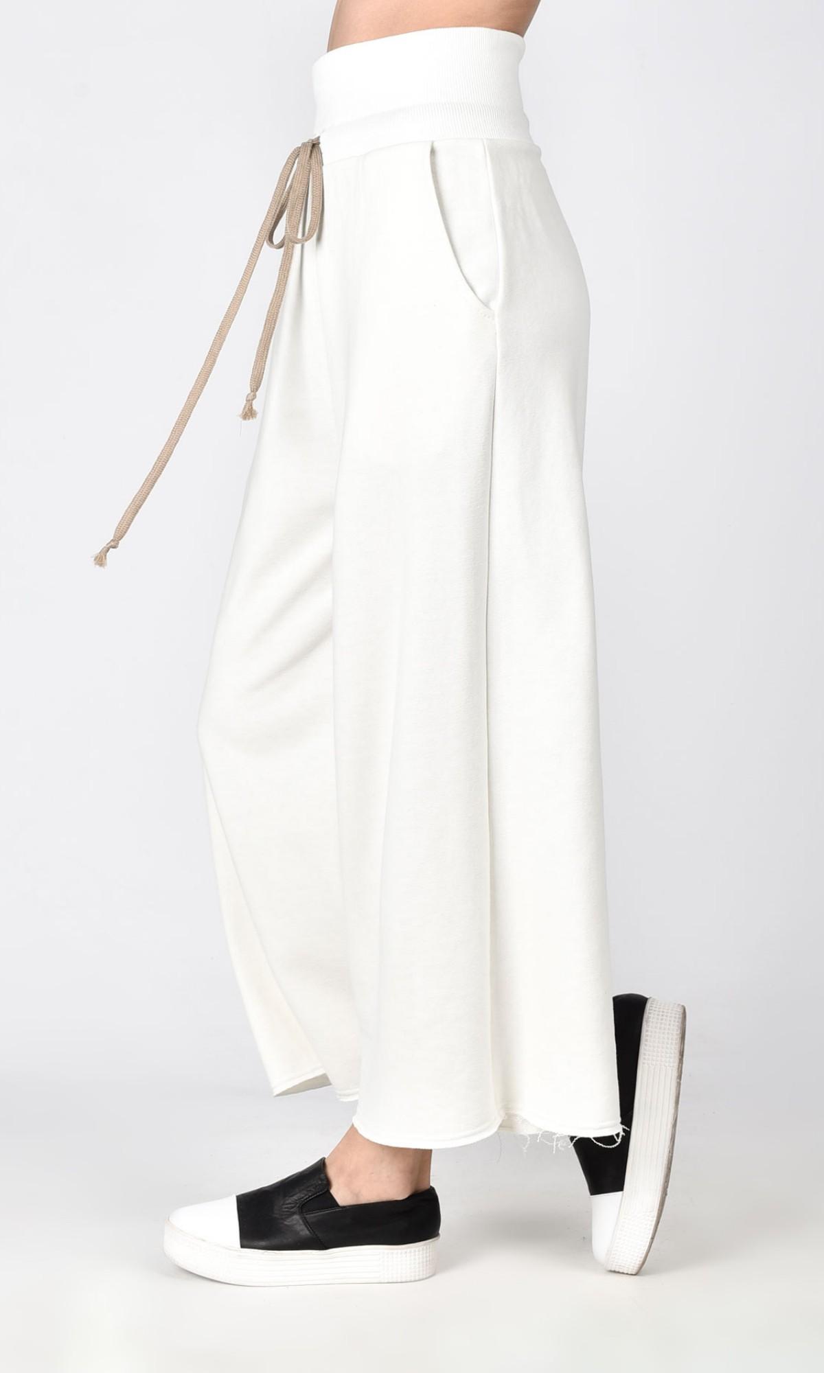High waist cotton pants A05726