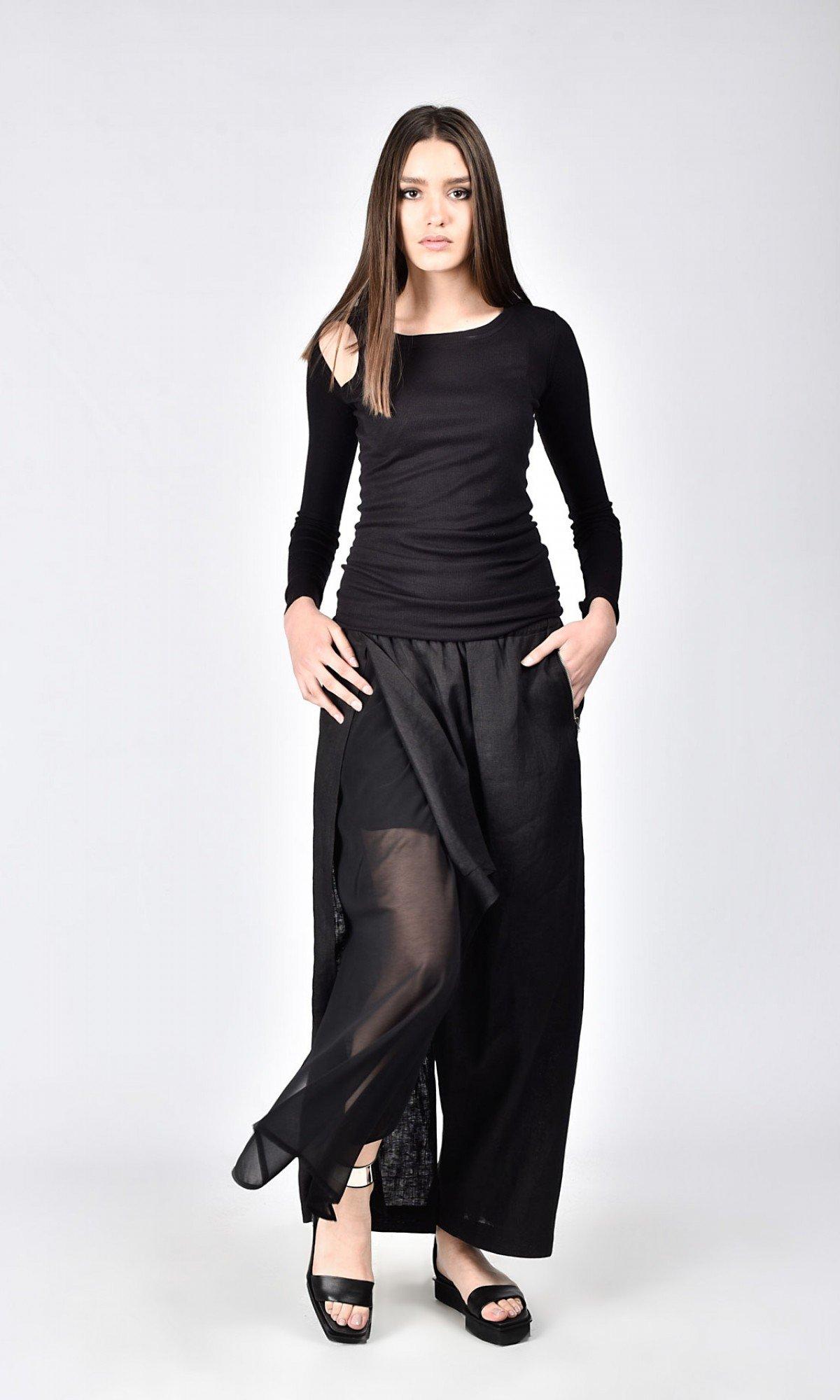 Elegant Linen Chiffon Skirt Pants A90215